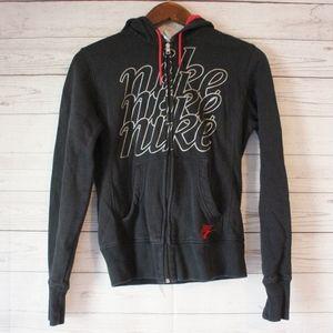Nike Full Zip Black Red Hooded Sweater Sweatshirt
